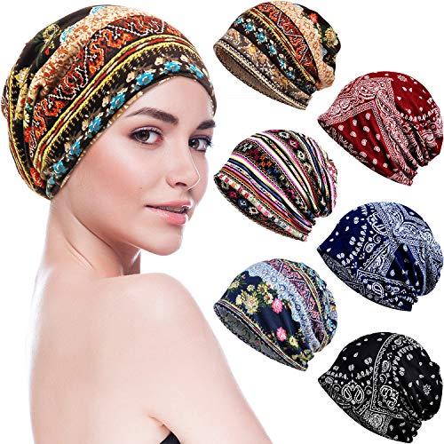 6 Pieces Womens Cotton Soft Slouchy Caps Beanie Hip Hop Stretchy Sleep Cap Beanie Caps