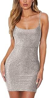 Meyeeka Women's Spagetti Strap Lace Up Backless Bodycon Glitter Party Mini Dress