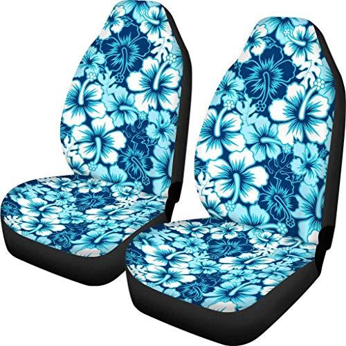 Woisttop Fundas de asiento de coche hawaianas con diseño de flores de hibisco para asiento delantero, funda de cojín universal para asientos de cubo, ajuste para coches, furgonetas, sedán, camiones
