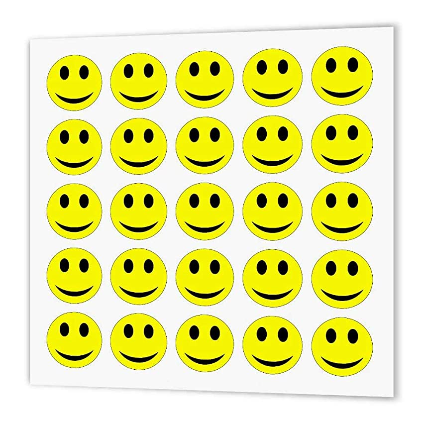 3dRose ht_179168_2 Yellow Happy Faces-Iron on Heat Transfer Paper for White Material, 6 by 6-Inch