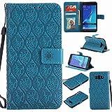 pinlu® Funda para Samsung Galaxy J7 (2016 Version, 5.5 Pulgada) J710 Smartphone Plegado Flip Billetera Carcasa Retro PU Leather Cover Función de Soporte con Ranura Case Rayas de Ratán Azul