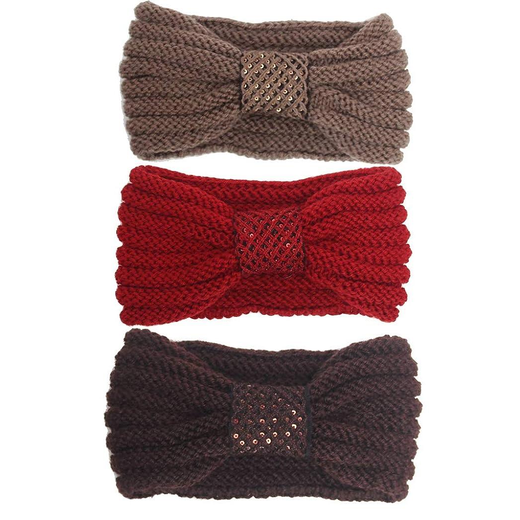模索モザイク不器用ヘアバンド、秋と冬の女性屋外暖かいフィットネスニットのヘアバンド(4パック) (色 : #2)