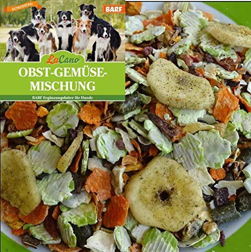 LuCano 1 kg Obst + Gemüseflocken mit Kräutern | glutenfrei - getreidefrei | Barf Ergänzung für Hunde | Hundefutter | Flocken Mix | Gemüse | Barf Futter