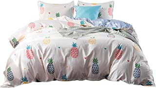 DeerHome Print Pattern Premium Full Bedding Collections with 4 Corner Ties Queen Bedding Duvet Cover Sets Pineapple Pattern for Boys Girls (Twin, Pattern #10)