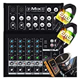 Mackie Mix8 8-Channel Compact Mixer with Pair of EMB XLR Cable and Gravity Magnet Phone Holder Bundle (2)