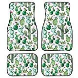 UNICEU Decor Green Cactus Flowers Print Universal Fit Floral Carpet Floor mats for Cars,SUVs,Truck for Front Row Only - 4 pc Set