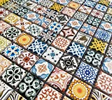 Moroccan Style Multi Colour Ceramic Square Mosaic Wall Tiles. Geometric Turkish 6mm