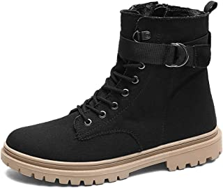 Men's Shoes-High Top Work Boots for Men Synthetic Leather Lace Up Stitching Side Zipper Adjustable Buckle Band Anti-Slip Lug Sole Leisure (Color : Khaki, Size : 44 EU)