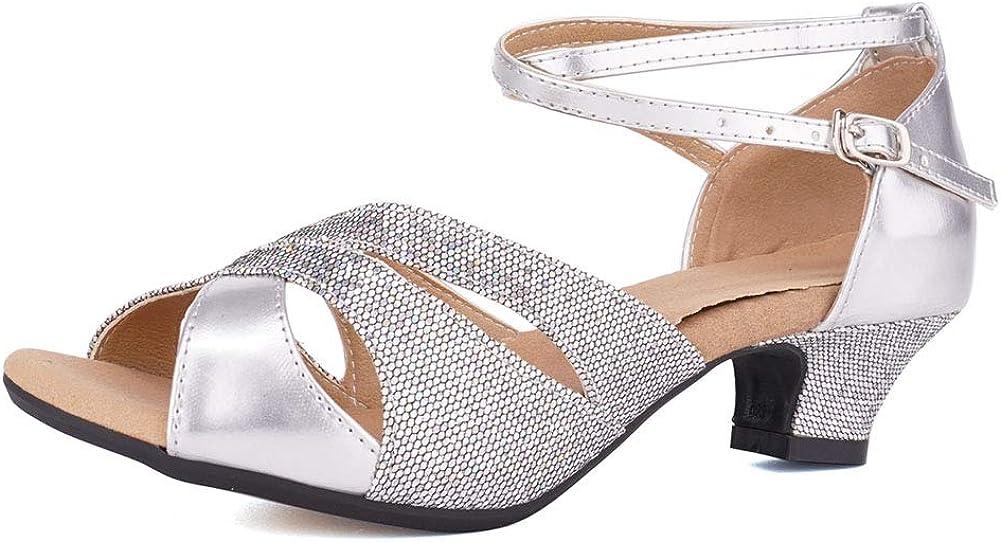 HIPPOSEUS Women's Glitter Latin Dance Shoes Party Salsa Dance Pe