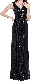Women Sequin Bridesmaid Dress Sleeveless Maxi Evening...
