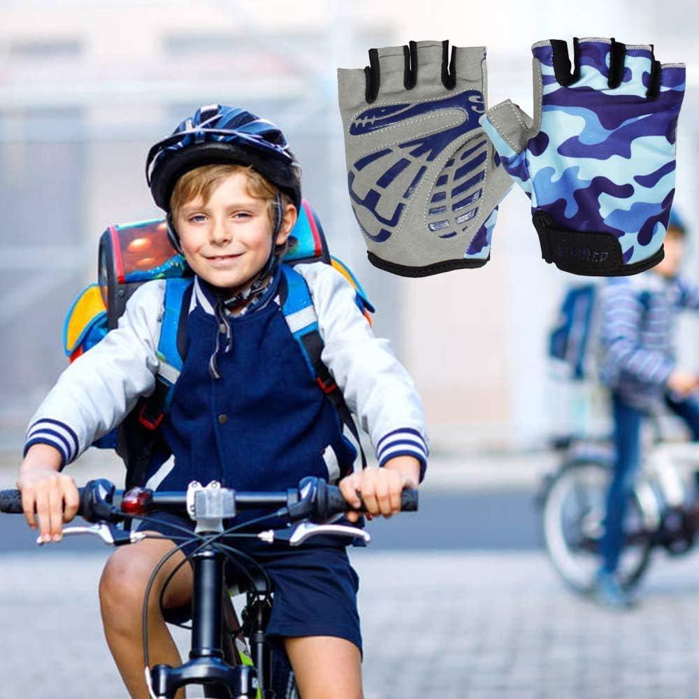 EU World Kinder Fahrradhandschuhe Halbfinger Radfahren Handschuhe Fingerlos Jungen M/ädchen Atmungsaktiv Fahrrad Handschuhe 3 Farben Blau//Pink//Gelb