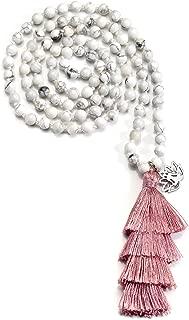 Natural Crystal Gemstone Buddhist Prayer Mala Beads 108 Meditation Healing Multilayer Bracelet/Necklace with Lotus Tassel Charm