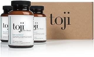 Toji Pure Density: Hair Nutrition. A Vegetarian Hair Vitamin Supplement w/ Organic Horsetail, Biotin, DHT Blocker Pack of 3 (90 Day Supply)