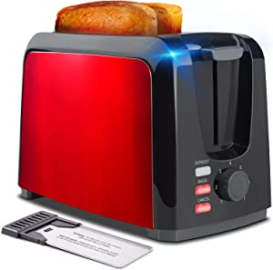 Toaster 2 Slice Toasters Two Slice Toaster with Removable Crumb Tray Toaster 2 Slice Best Rated Prime Stainless Steel Toaster with 7 Bread Shade Settings and Bagel (Red-1305)