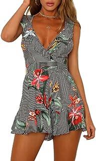 29bb2dc39d73 Women s Summer Casual Floral Ruffle Backless Spaghetti Strap Beach Romper  Shorts Jumpsuit