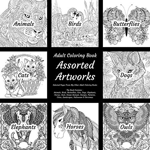 Assorted Artworks Adult Coloring Book Selected Pages From My Other Adult Coloring Books The product image
