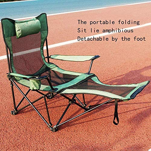 'N/A' Folding Camping Chair – Folding deck chair Removable feet Ultra Lightweight Collapsible Quad Padded Lawn Seat with Full Back Arm Rests Cup Holder and Shoulder Strap Carrying Bag Green