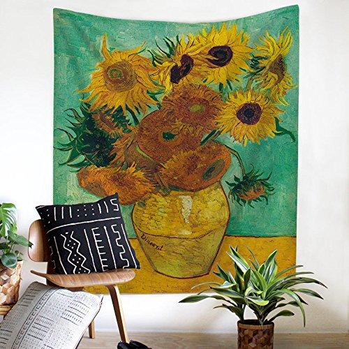 ZHH Wandteppich, Motiv: Sternennacht über der Rhône, klassisches Ölgemälde-Motiv von Vincent van Gogh, Boho-Stil, Dekoration für Schlafzimmer, Wohnheim, Wohnzimmer, Polyester, Sonnenblumen, 78