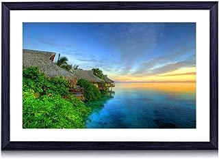 GLITZFAS Amazing Sunset Over Tahiti - Beach - #51541- Art Print Black Wood Framed Wall Art Picture (16x12 inches Framed)