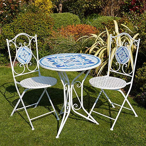 BFW White Blue Mosaic Bistro Set Patio Garden Table and 2 Chairs