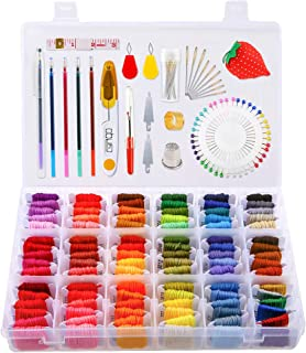 Caydo 194 Pieces Embroidery Thread String Kits with Organizer Box, 108 Embroidery Floss and Cross Stitch Tool Kits for Friendship Bracelet String Making