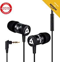 KLIM Fusion Earbuds with Mic Audio - Long-Lasting Wired Ear Buds + 5 Years Warranty - Innovative: in-Ear with Memory Foam Earphones with Microphone - 3.5mm Jack - New Earphone 2019 Version - Black