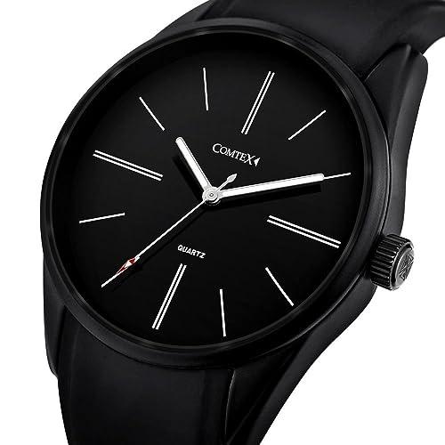 Comtex 腕時計 ブラック クオーツ 防水 ウオッチ アウトドア スポーツ 時計 メンズ
