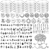 Flasoo 376Pcs Bangles Bracelet Making Kit Include 30Pcs Expandable Bangle Adjustable Wire Bracelets 146Pcs Assorted Tibetan Silver Charm Pendants and 200Pcs Jump Rings for DIY Craft Jewelry Making