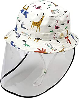 Kid's Bucket Hat Anti-saliva Anti-UV Bucket Sun Hat with Detachable Face Shield