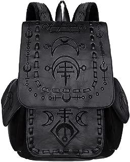 Restyle Runic Gothic Punk School Uni Backpack Festival Wicca Moon Symbols Bag - Black