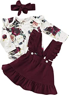Newborn Baby Girls Floral Ruffled Romper+Velvet Strap Skirt+Headband Outfits Set