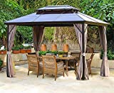 Erommy 10x13ft Outdoor Double Roof Hardtop Gazebo Canopy Curtains Aluminum Furniture with Netting for Garden,Patio,Lawns,Parties…