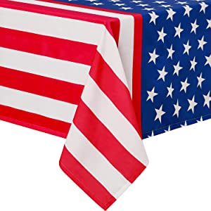 DWCN Independence Day Patriotic Tablecloth Rectangle - Waterproof Spill-Proof Stain Resistant American Flag Patterned Table Cloth for 4th of July Holiday Party Indoor and Outdoor Decor, 54 x 80 Inch