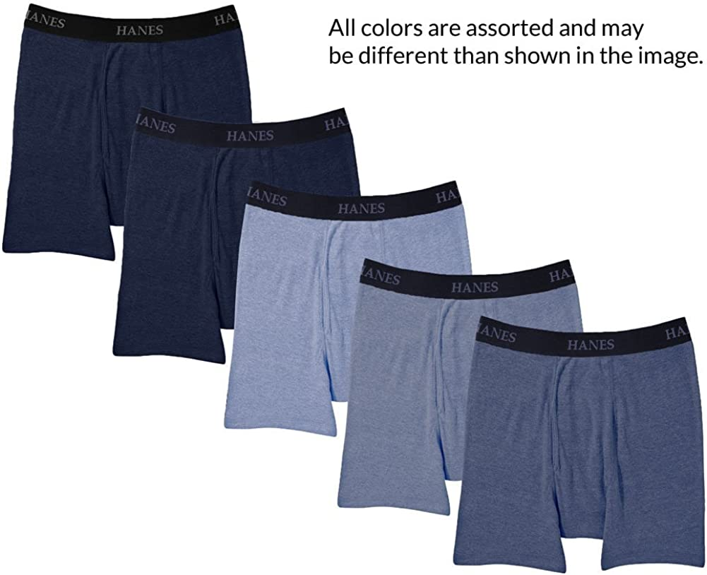 Hanes Ultimate 5 Packs for Men FreshIQ Boxer Briefs with ComfortFlex Waistband -Medium Blue