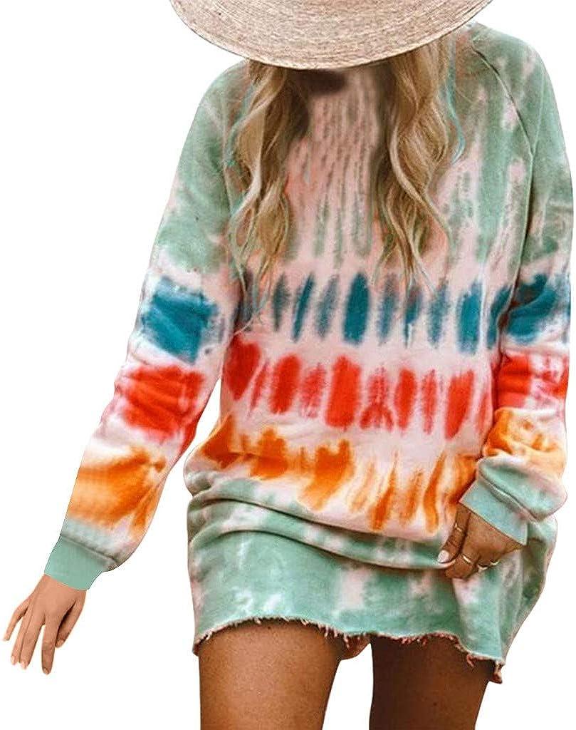 Sweatshirt Dress for Women ,Women's Casual Fashion Long Sleeves Tie Dye Print Crewneck Loose Pullover Blouse Tops