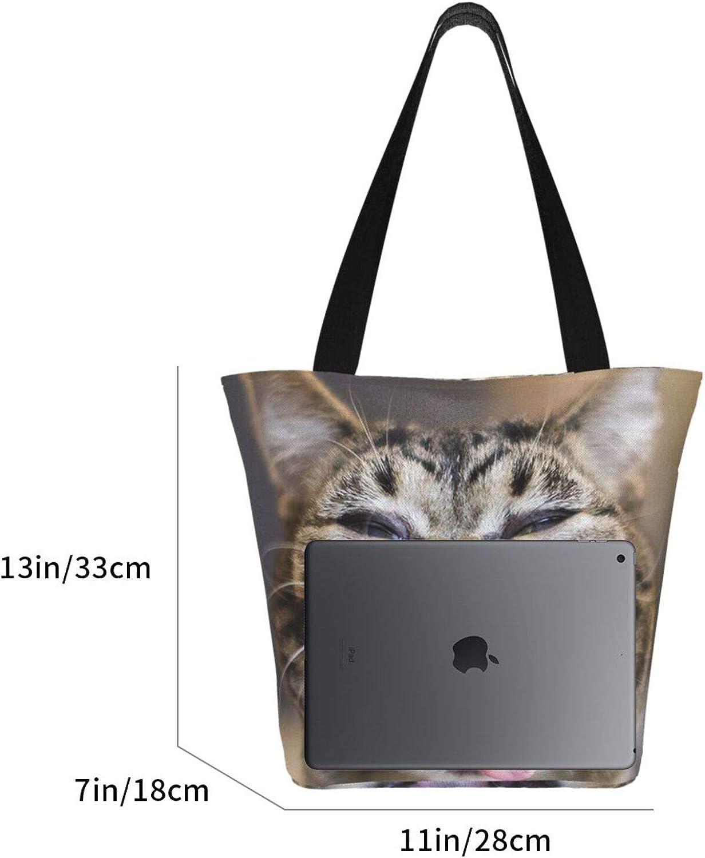 Cute Face Cat Funny Theme Themed Printed Women Canvas Handbag Zipper Shoulder Bag Work Booksbag Tote Purse Leisure Hobo Bag For Shopping