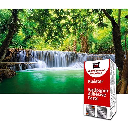 GREAT ART Fototapete Wasserfall im Wald 336 x 238 cm – Feng Shui Paradies Regenwald Natur Landschaft Bild Wandtapete Dekoration Wandbild – 8 Teile Tapete inklusive Kleister
