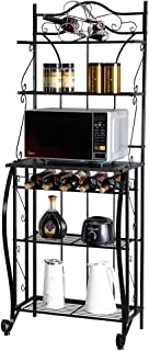 "ROVSUN Upgrade Multiuse 5-Tier Metal Kitchen Bakers Rack, Microwave Storage Rack Oven Stand with Wine Storage Organizer Workstation Black (25"" x 16"" x 68"")"