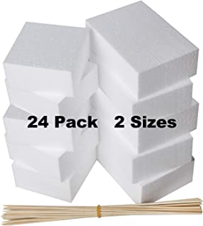 24 Pack Foam Blocks - Styrofoam Square Blocks, Rectangle Blocks - Floral Foam - Craft Foam- For Crafting, Modeling, Sculpture, DIY Arts And Crafts, Flower foam - 2 Sizes 6 x 4 x 2 and 4 x 4 x 2 inches