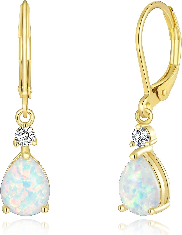CiNily Leverback Opal Dangle Drop Earrings For Women Girls 14K Gold Plated Teardrop Earrings