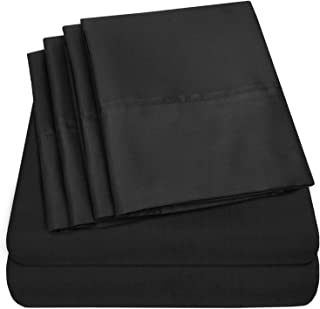 Cal King Size Bed Sheets - 6 Piece 1500 Thread Count Fine Brushed Microfiber Deep Pocket California King Sheet Set Bedding - 2 Extra Pillow Cases, Great Value, California King, Black