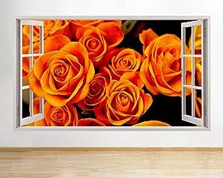 3D Wall Sticker s Orange Roses Flowers Nature Window Decal Art Vinyl Room Art Print Poster Decor 60x90cm