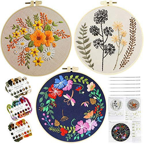 Kit de bordado para principiantes, kits de punto de aguja con bordado de ropa con patrón floral, kit de inicio de bordado para adultos y niños