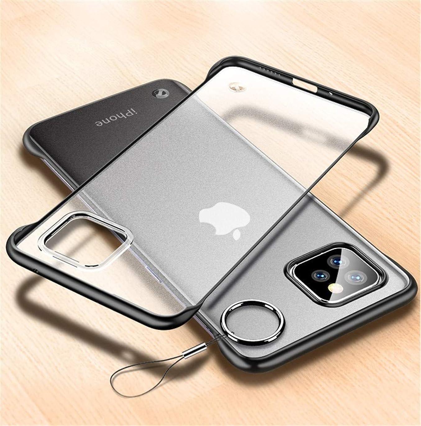 エンジニア洗練されたおとこ極薄 2019 iPhone11 Pro 5.8インチ ケース フレームなし マット仕上げ 指紋防止 クリア 透明 ソフト TPU リング ストラップ付きiPhone11 Pro アイフォン11プロ アイフォン11プロ カバー 艶消し 枠なし お洒落PODITAGI (iPhone11 Pro, ブラック)