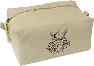 'Fearsome Viking Head' Canvas Wash Bag / Makeup Case (CS00018426)