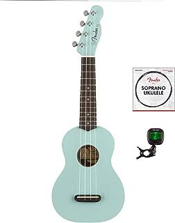 Fender Venice Soprano Ukulele, Daphne Blue with Fender Ukulele Strings & Tuner