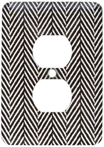 Einzelne Duplex-Steckdosenleiste, Steckdosen-Wandplatte, Zick-Zack-Abdeckung, Schwarz / Weiß, 2 Steckdosen