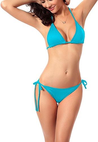 Paciffico Femme Sexy à bretelles Triangle 2pcs Bikini Bain Convient de plage Maillot de bain