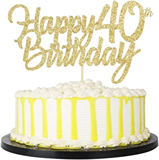 PALASASA Gold Happy Birthday cake topper - Hello 40, Cheers to 40 Years, 00 Anniversary/Birthday Cake Topper Party Decoration (40th)