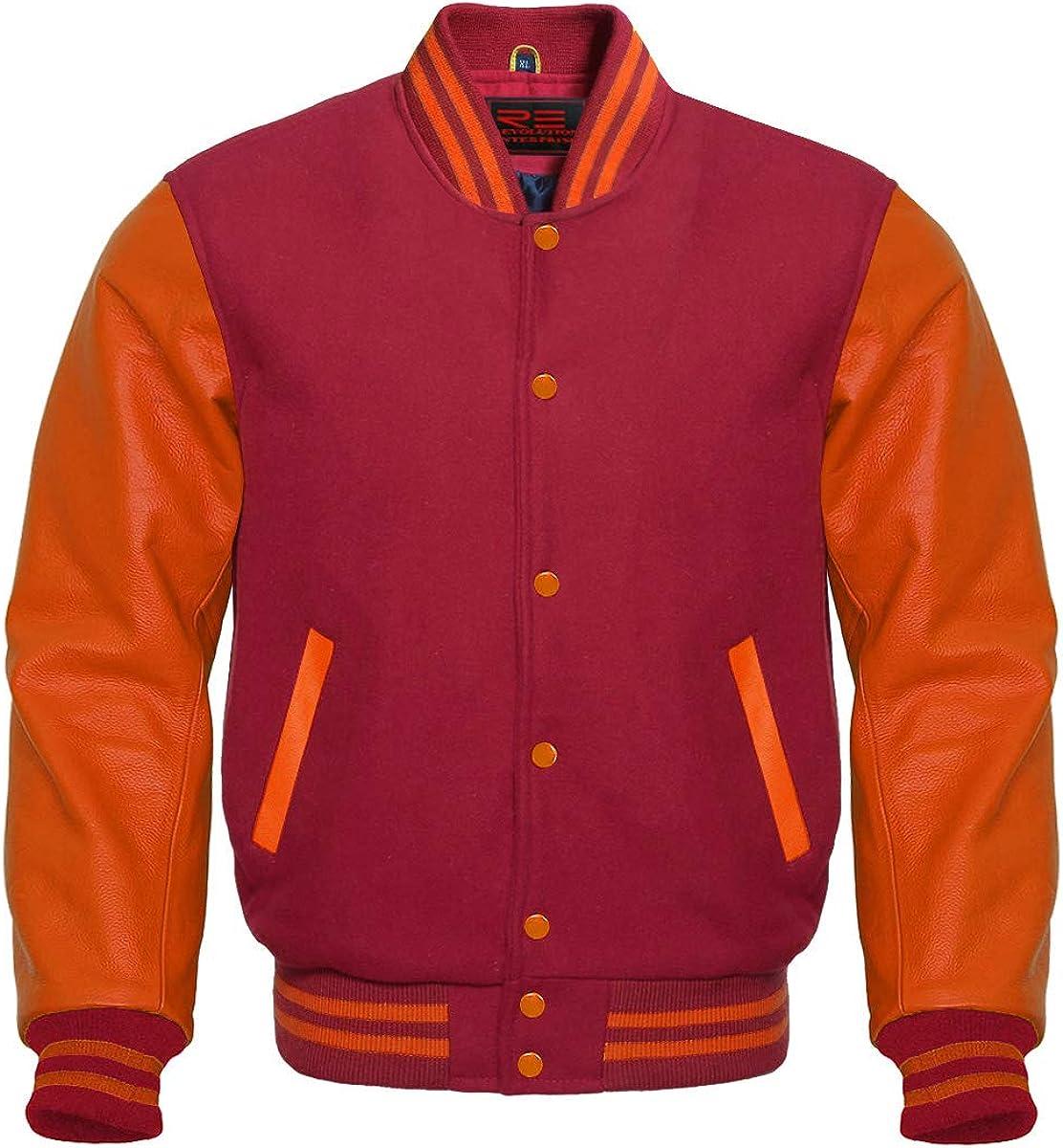 Varsity Letterman Baseball Bomber Retro Vintage Jacket Maroon Wool Orange Genuine Leather Sleeves